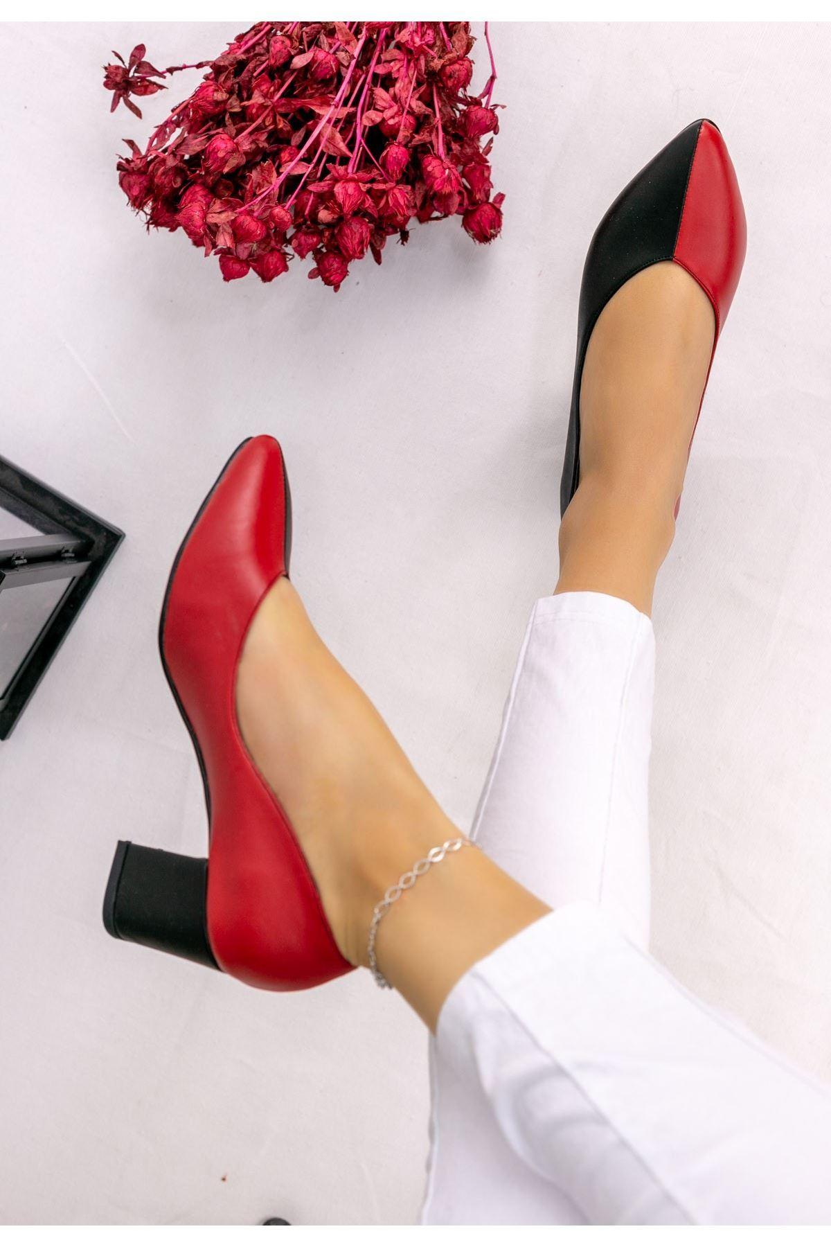 Vilo Siyah Kırmızı Cilt Siyah Topuklu Ayakkabı