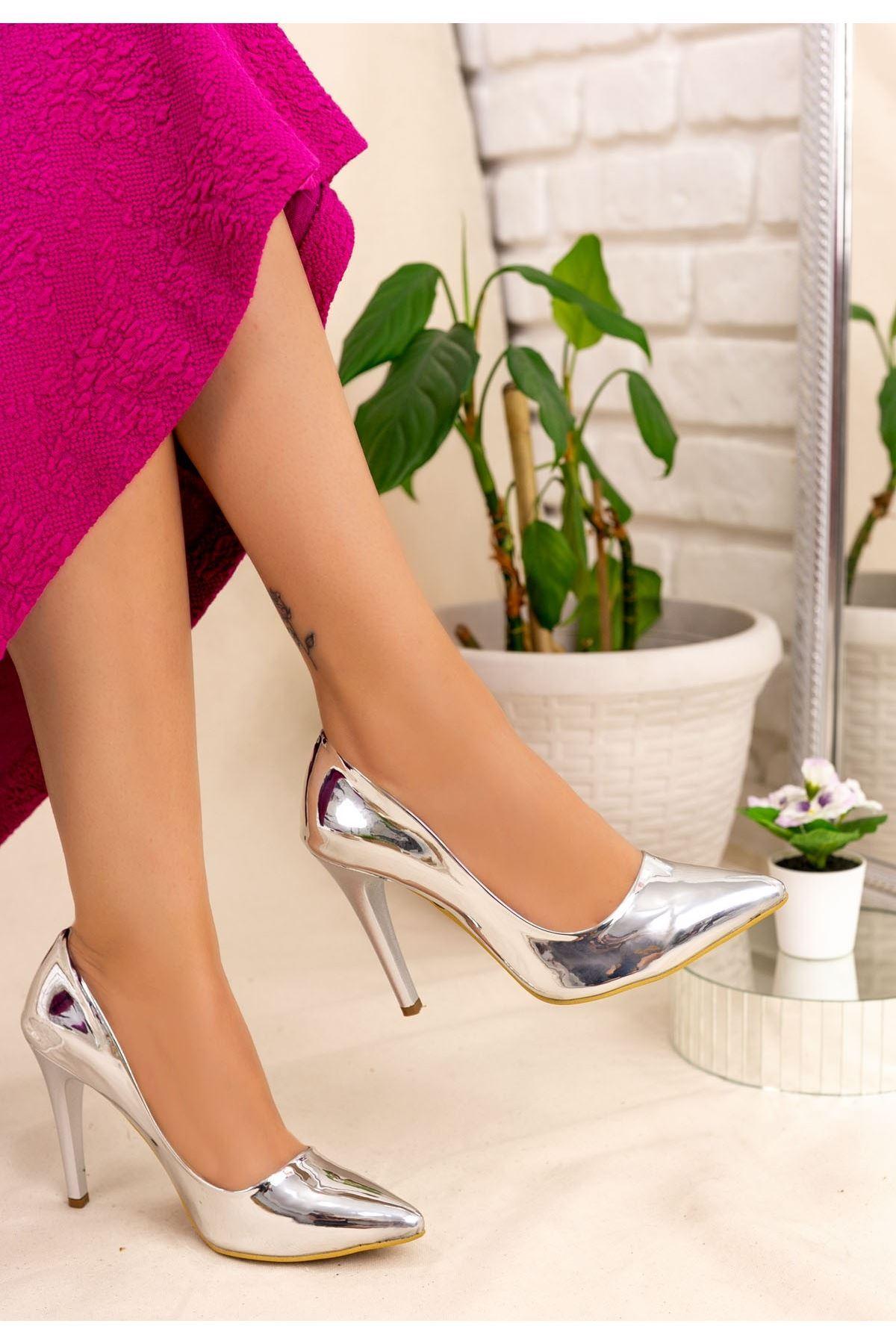 Brox Gümüş Ayna Stiletto Ayakkabı