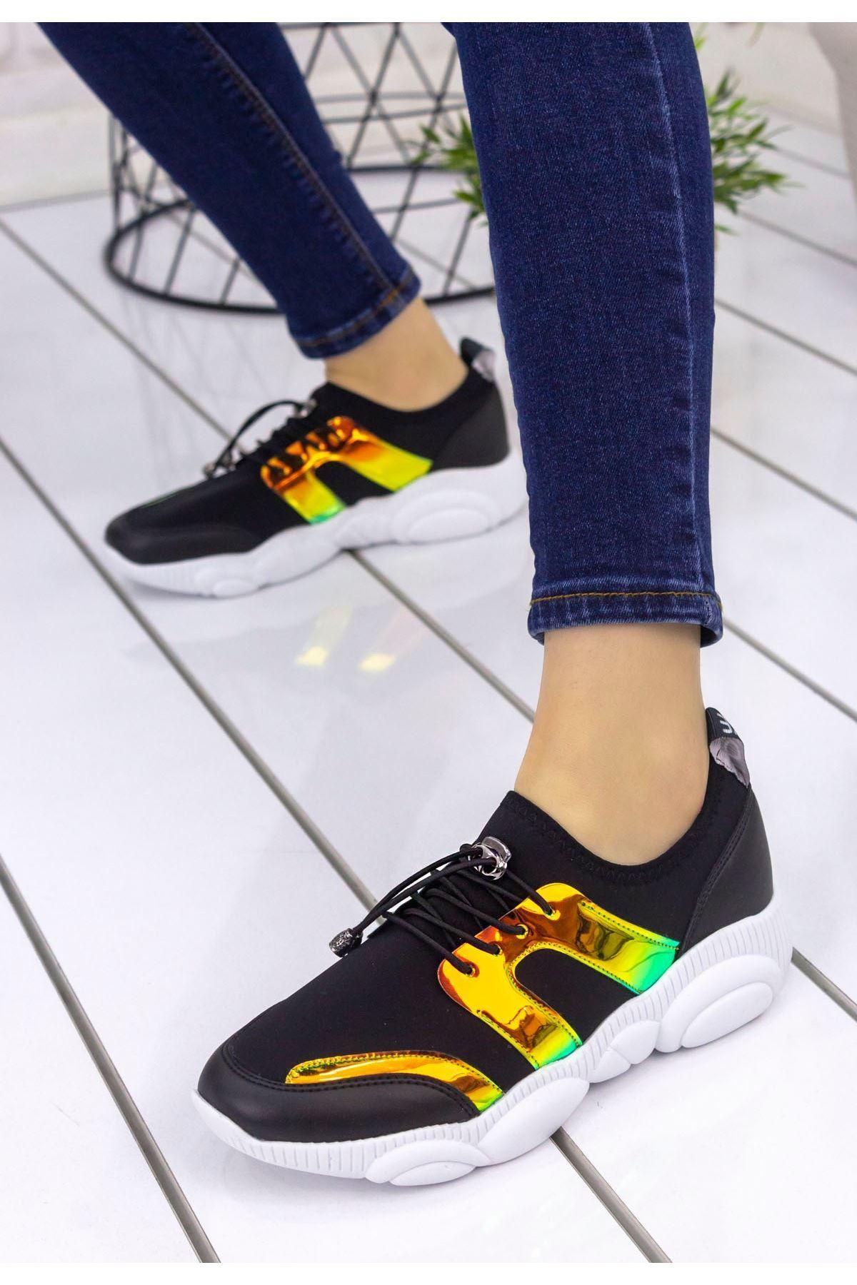Neoma Siyah Cilt Hologramlı Spor Ayakkabı
