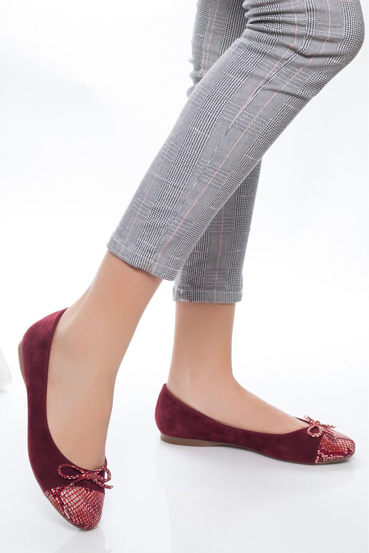 Lela Bordo Süet Fiyonklu Babet Ayakkabı
