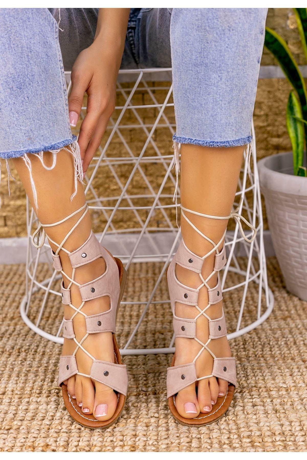 Salin Ten Süet Sandalet