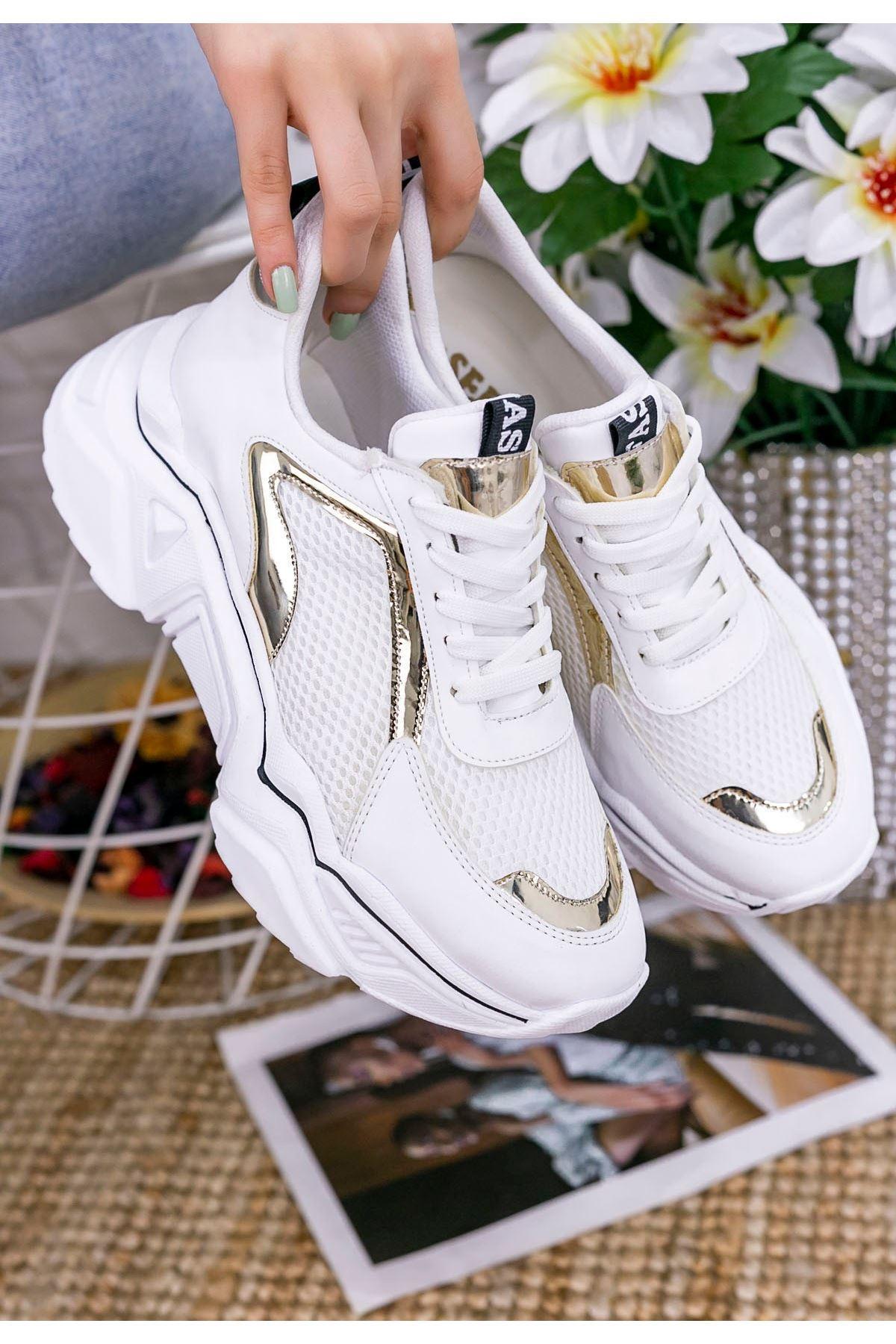 Vira Beyaz Cilt Sarı Rugan Siyah Çizgili Spor Ayakkabı