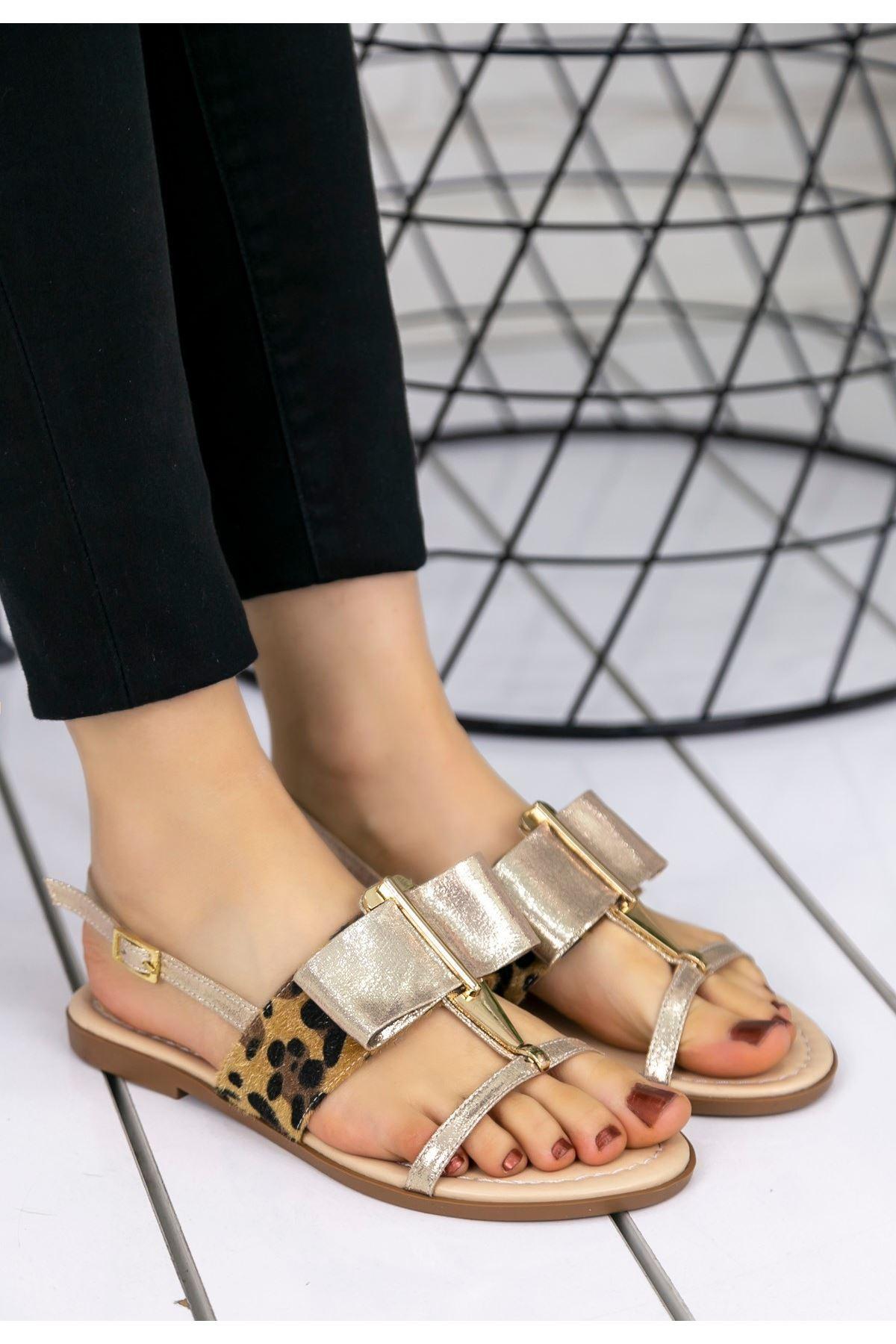 Melba Gold Cilt Sandalet