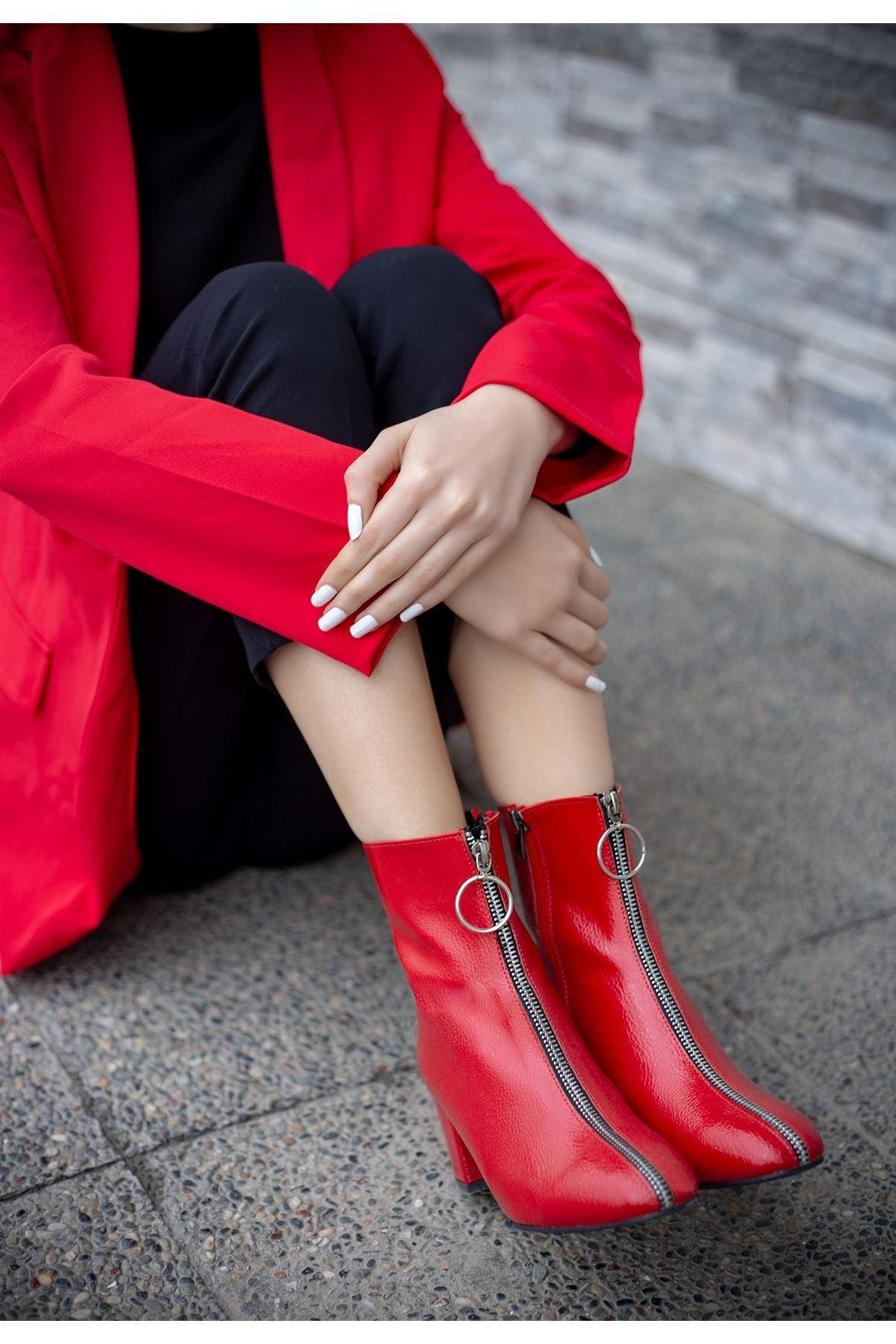 Jordon Kırmızı Cilt Topuklu Bot