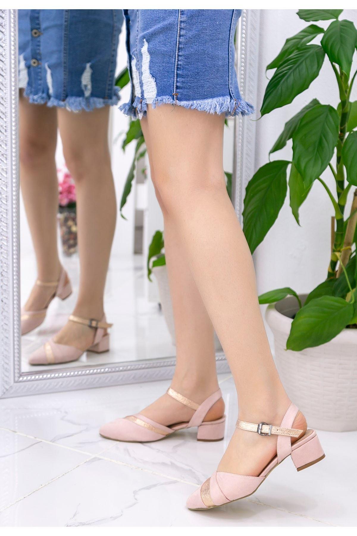 Merle Pudra Süet Topuklu Ayakkabı