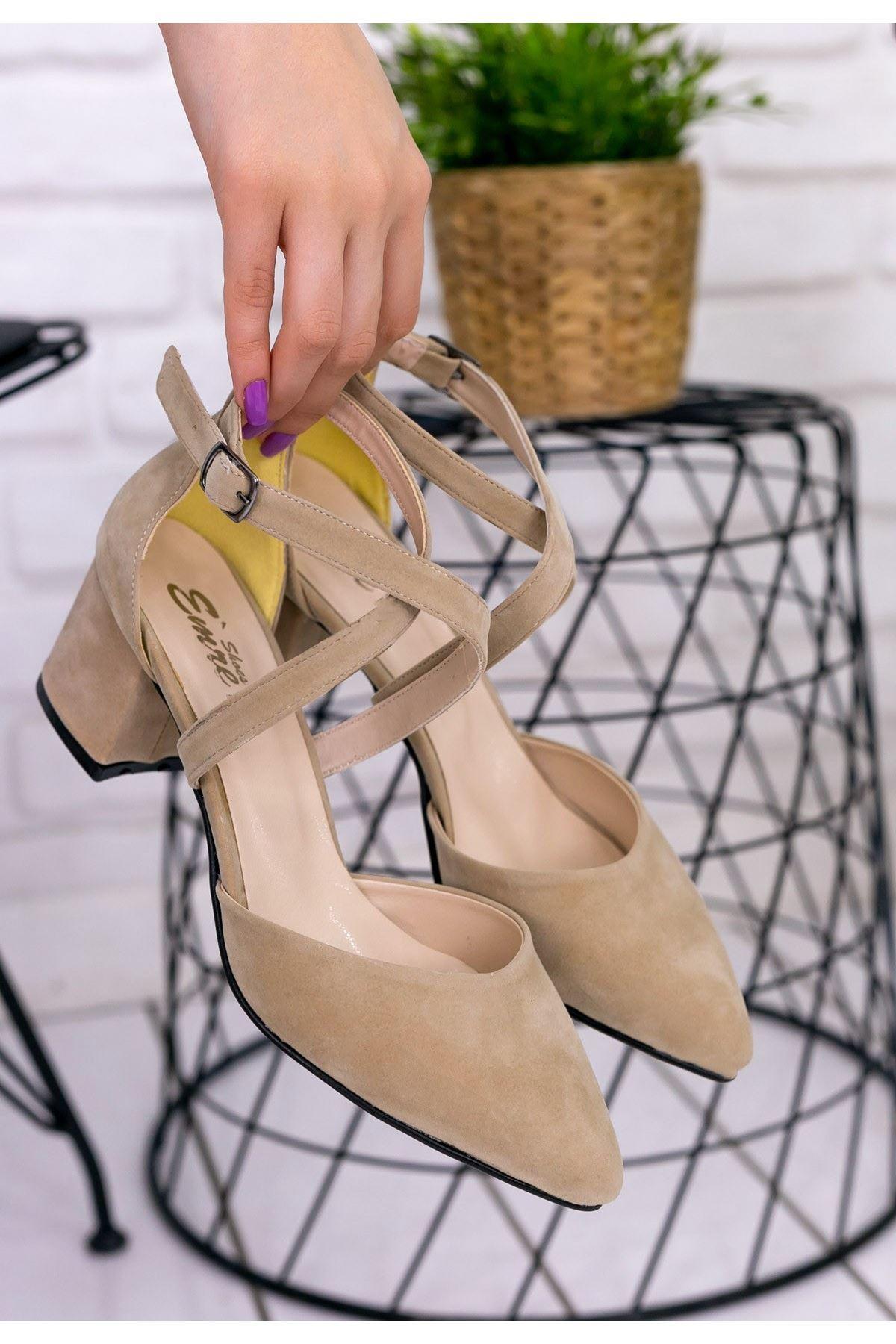 Keti Vizon Süet Topuklu Ayakkabı