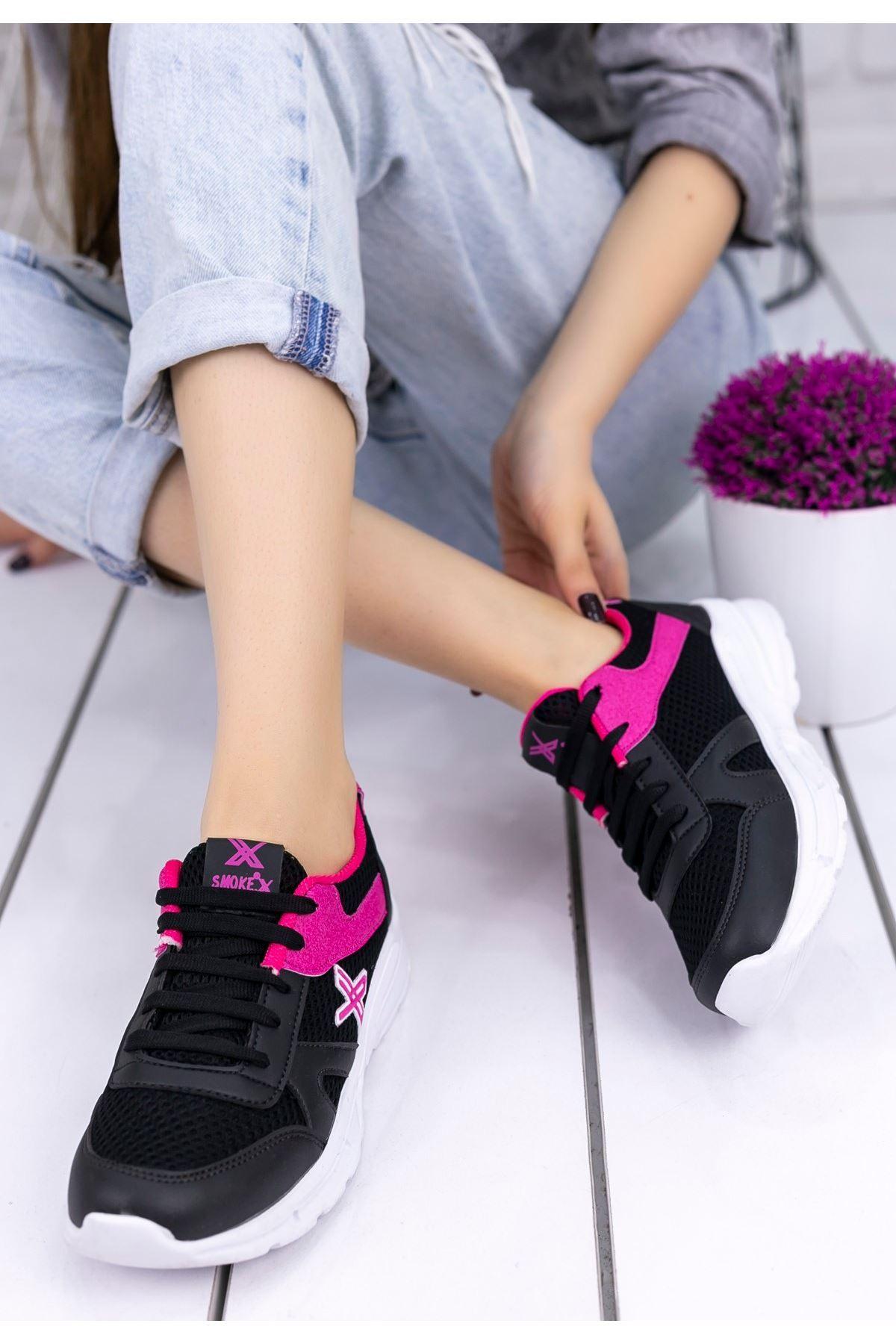 Selis Siyah Cilt Fuşya Detaylı Spor Ayakkabı