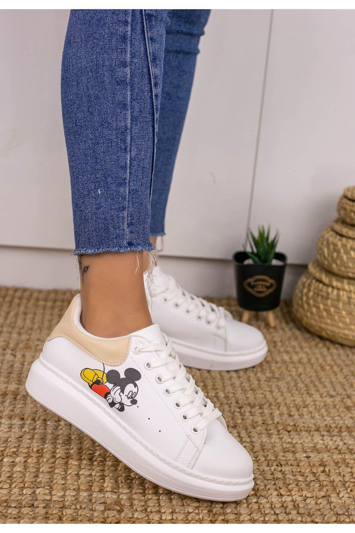 Neomixi Beyaz Mickey Mause Vizon  Detaylı Spor Ayakkabı
