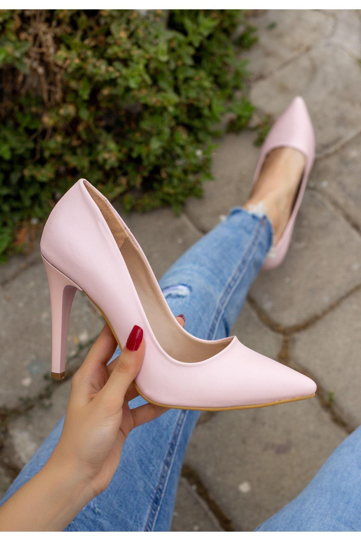 Taylox Pudra Cilt Stiletto Ayakkabı