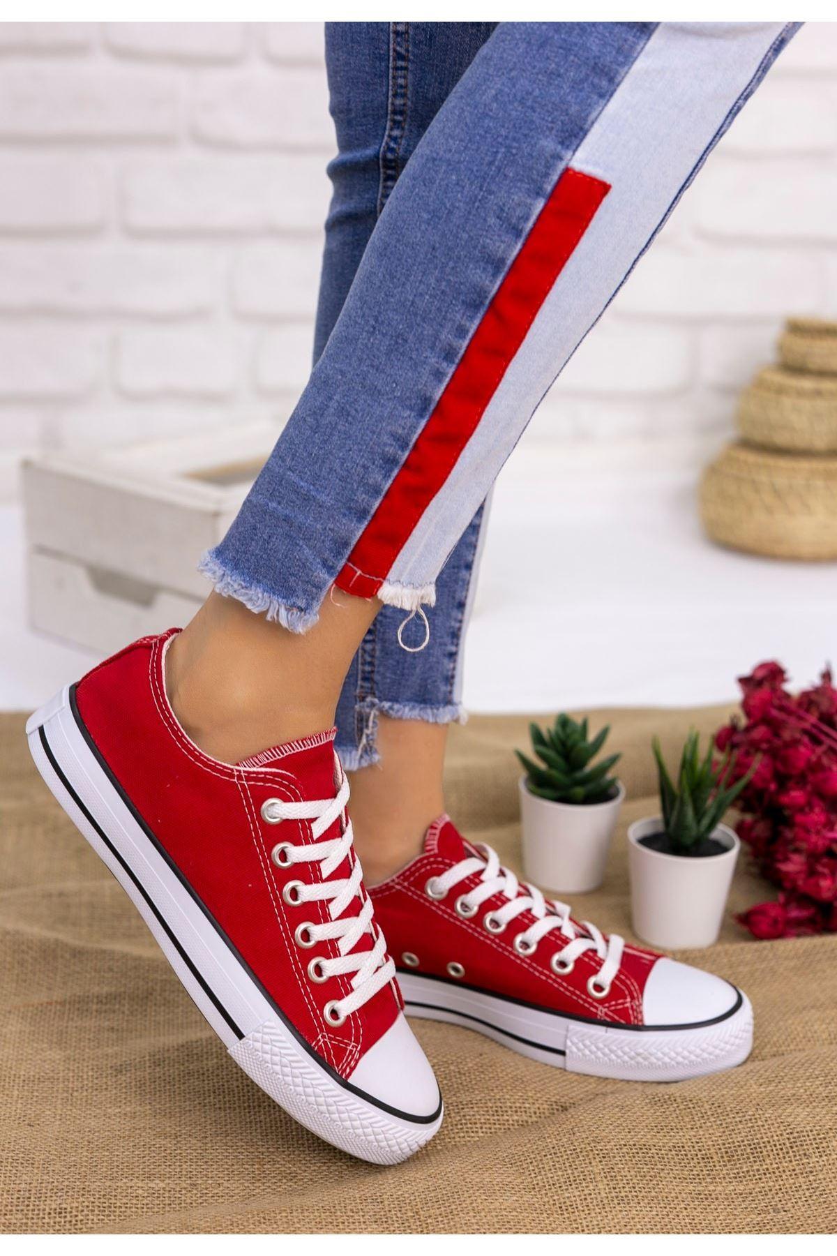 Moxi Kırmızı Keten Spor Ayakkabı