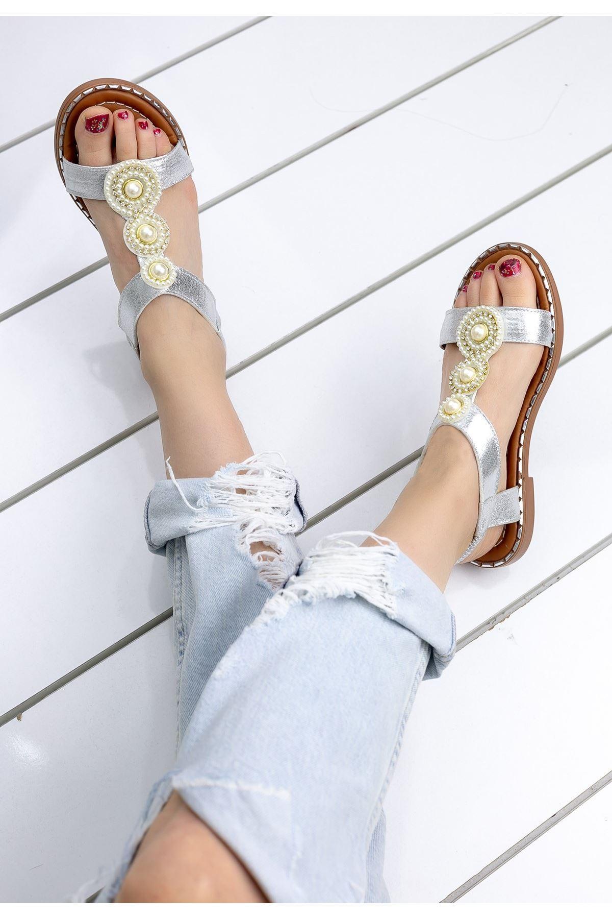 Clare Gümüş Cilt Sandalet