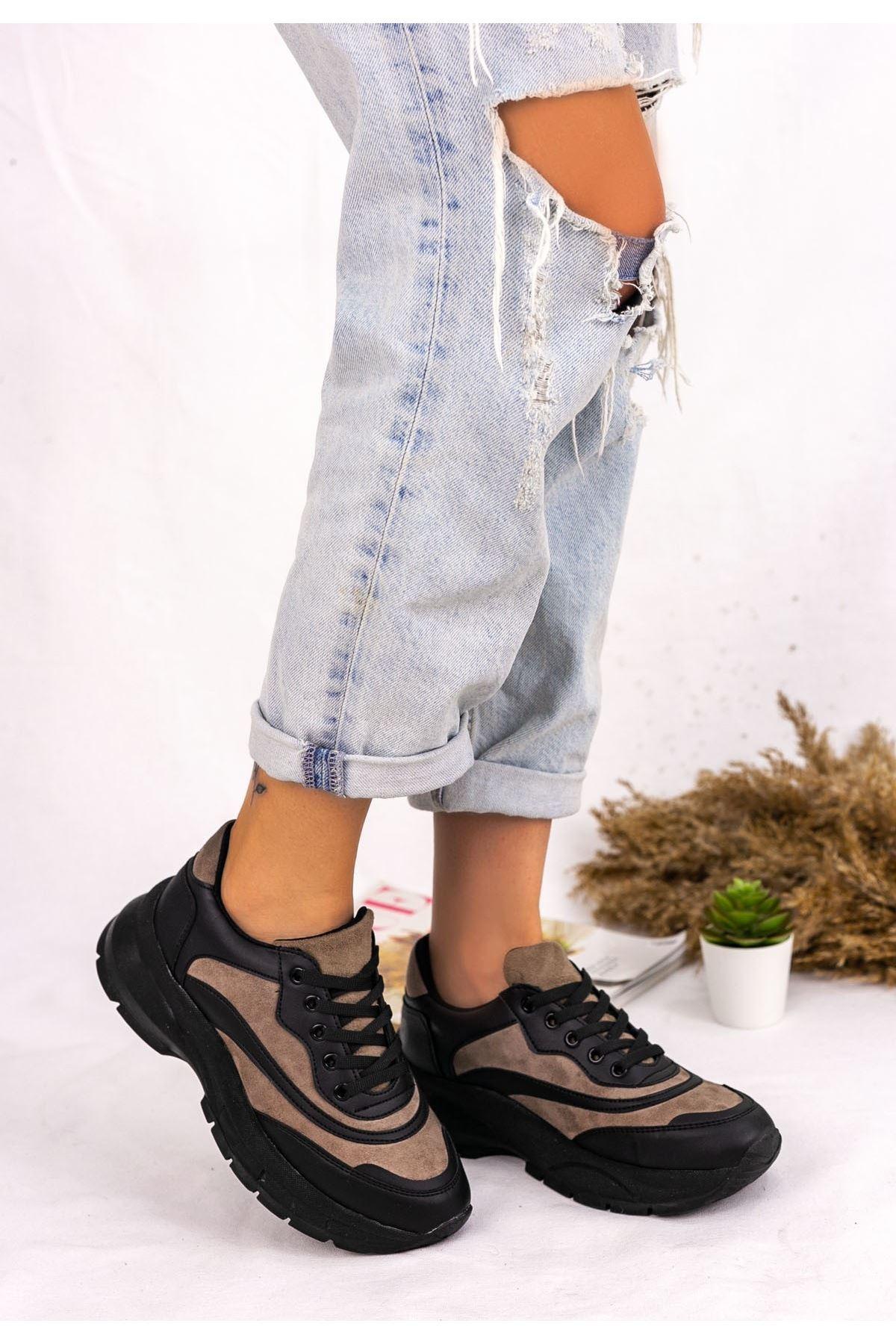 Nataj Siyah Cilt Vizon Detaylı Spor Ayakkabı