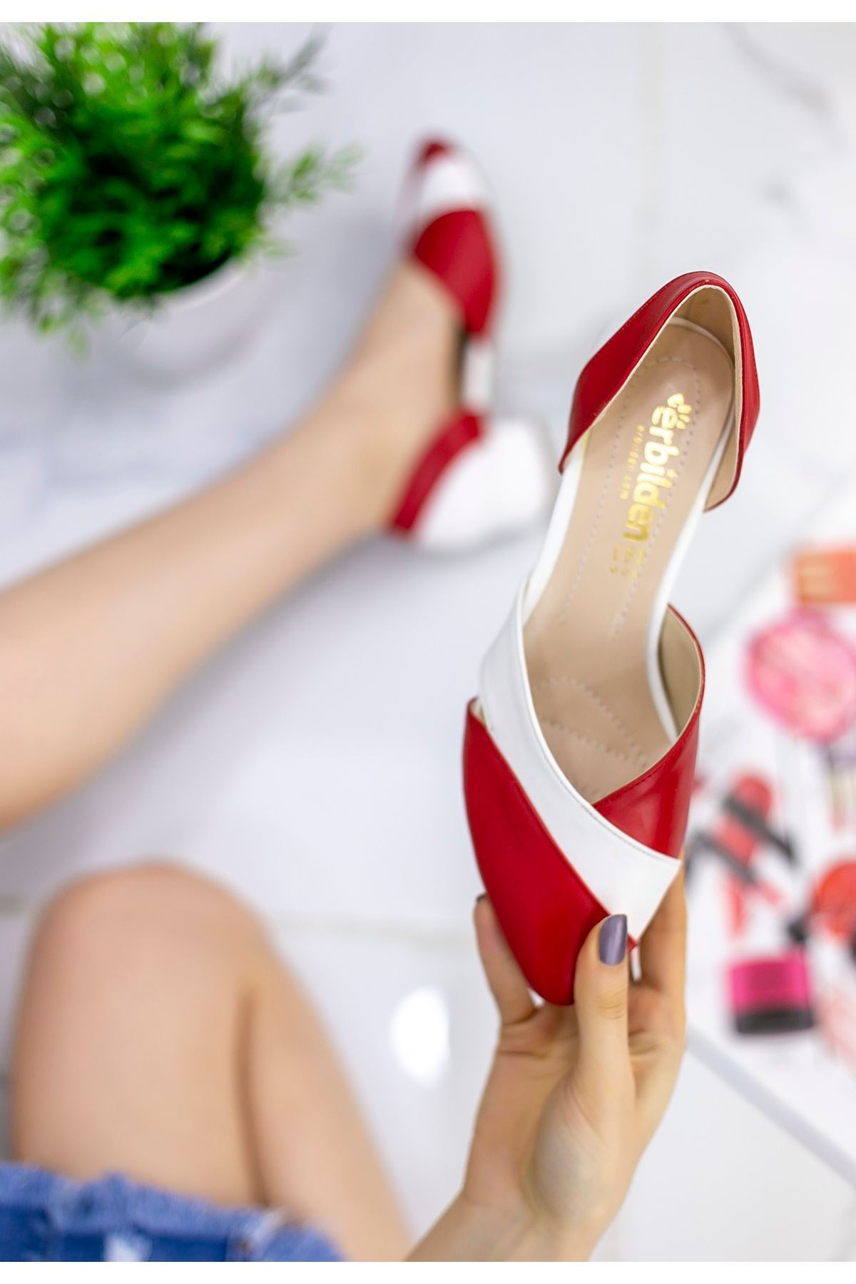 Zeoy Kırmızı Beyaz Cilt Topuklu Ayakkabı
