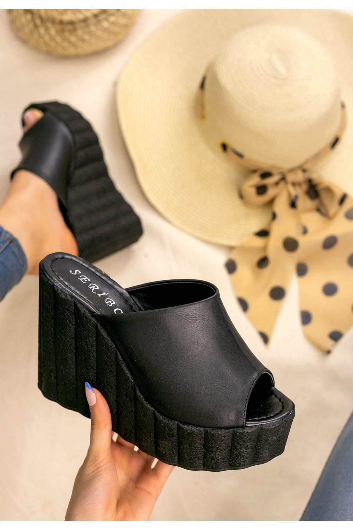 Jannifer Siyah Cilt Siyah Dolgu Topuklu Terlik