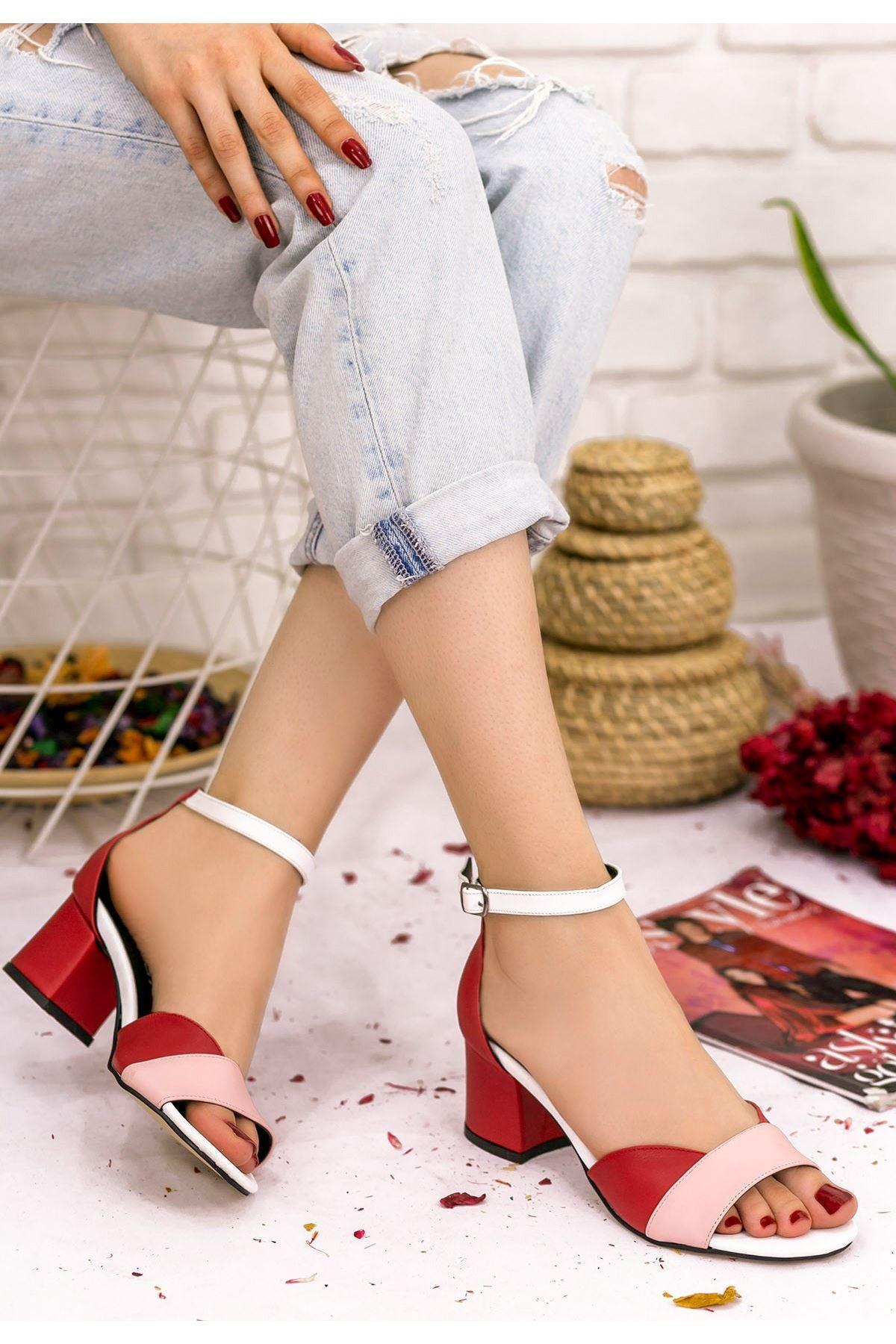 Kaina Kırmızı Cilt Renkli Topuklu Ayakkabı