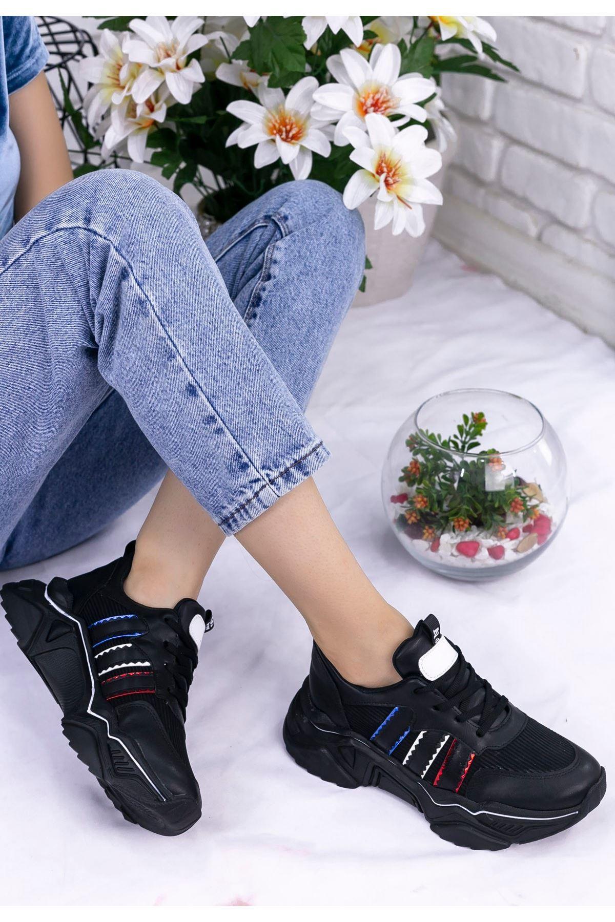 Vira Siyah Cilt Kırmızı Beyaz Şeritli  Spor Ayakkabı