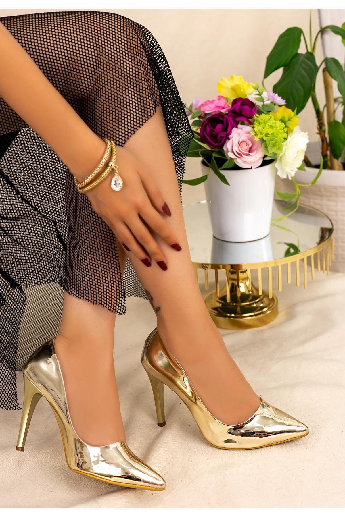 Brox Altın Ayna Stiletto Ayakkabı