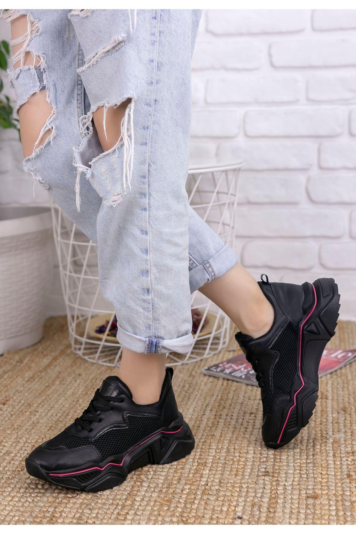 Vira  Siyah Cilt Fileli Kırmızı Çizgili Spor Ayakkabı