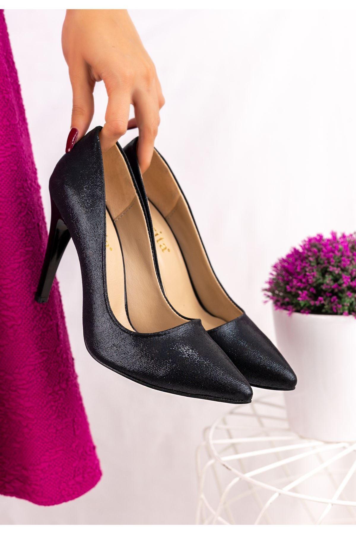 Taylox Siyah Simli Stiletto Ayakkabı
