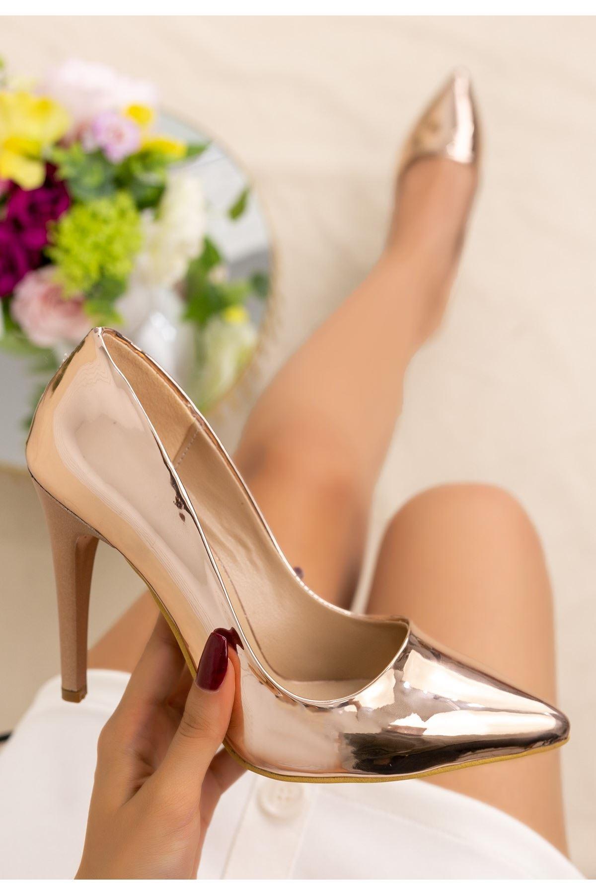 Brox Bakır Ayna Stiletto Ayakkabı