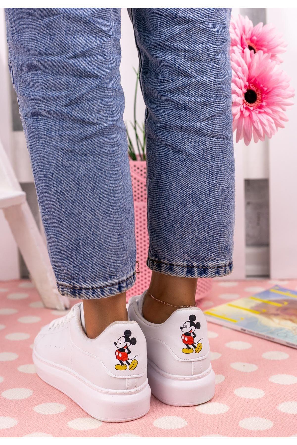 Neomixi Beyaz Mickey Mause  Detaylı Spor Ayakkabı