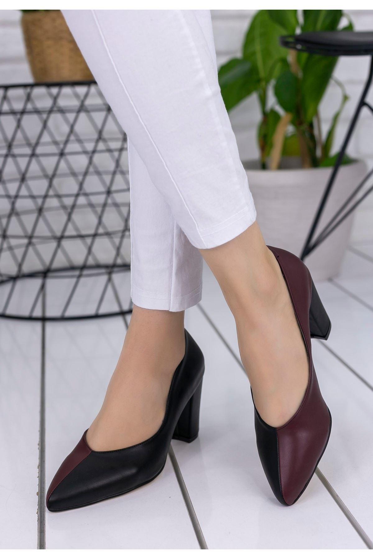 Wilona Siyah Bordo Cilt Topuklu Ayakkabı