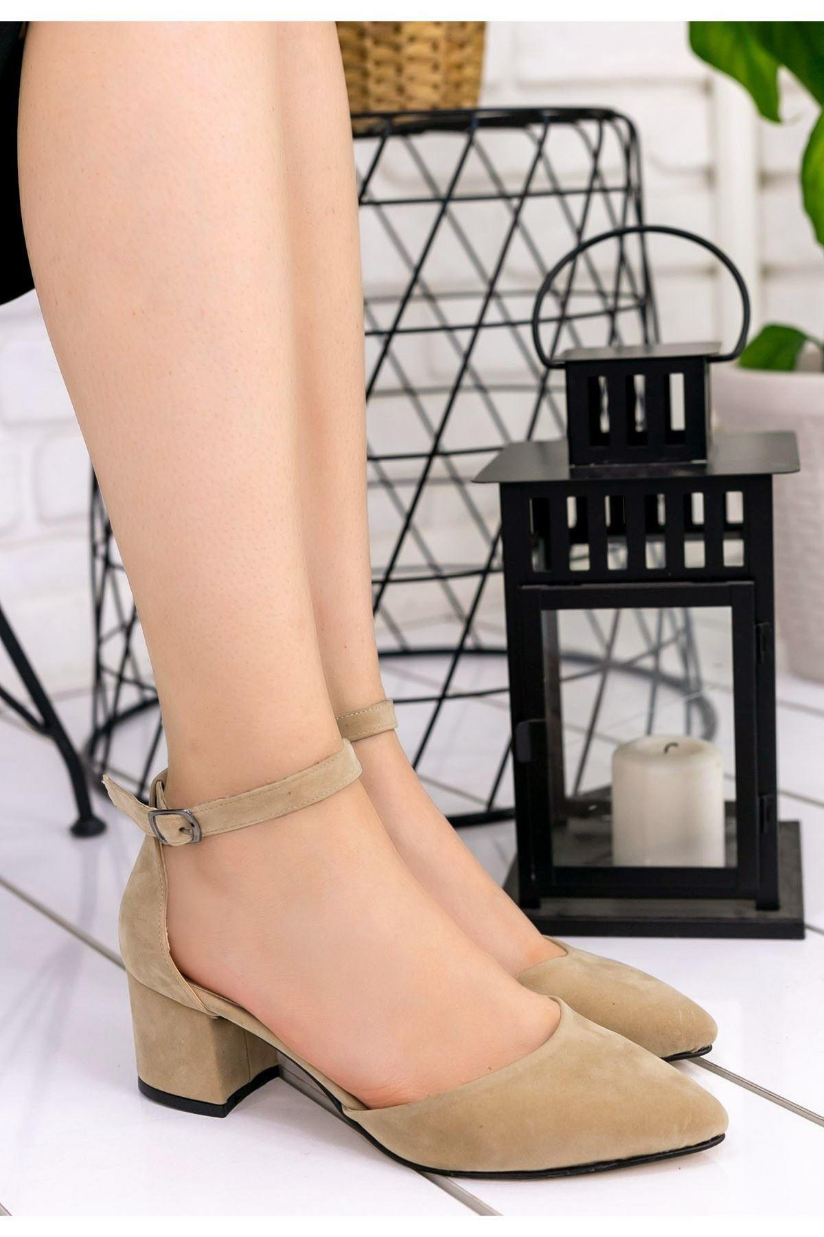 Faul Vizon Süet Topuklu Ayakkabı