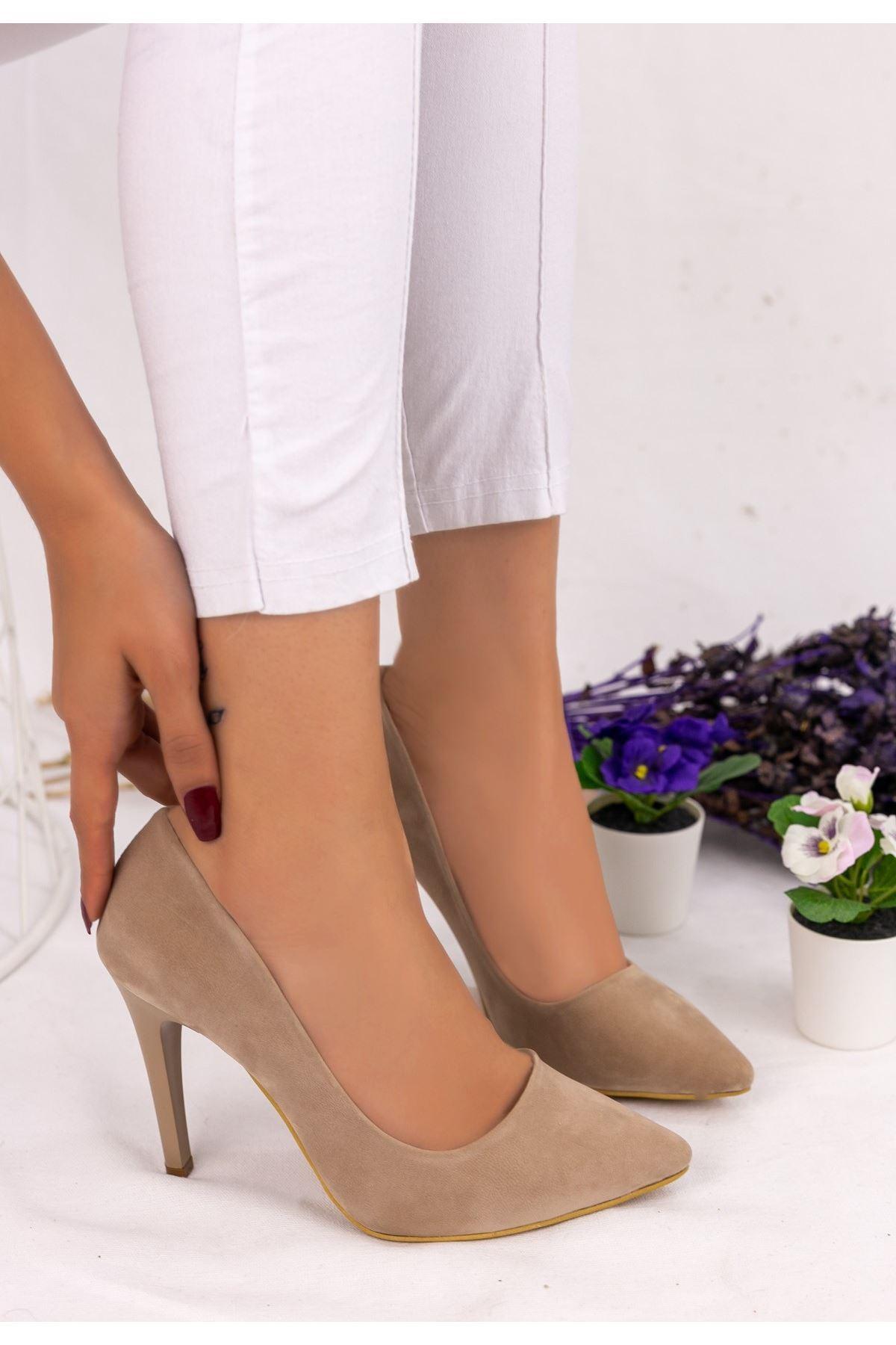 Taylox Vizon Süet Stiletto Ayakkabı