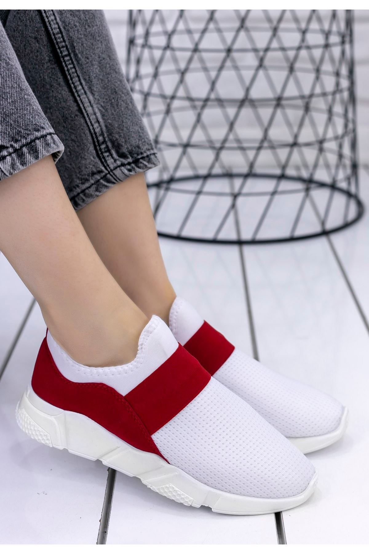 Petri Beyaz Streç Kırmızı Detaylı Spor Ayakkabı