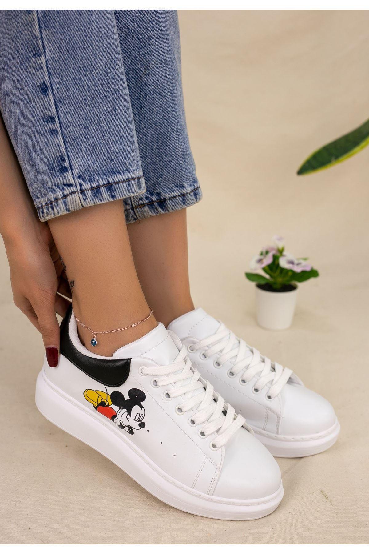Neomixi Beyaz Mickey Mause Siyah Detaylı Spor Ayakkabı