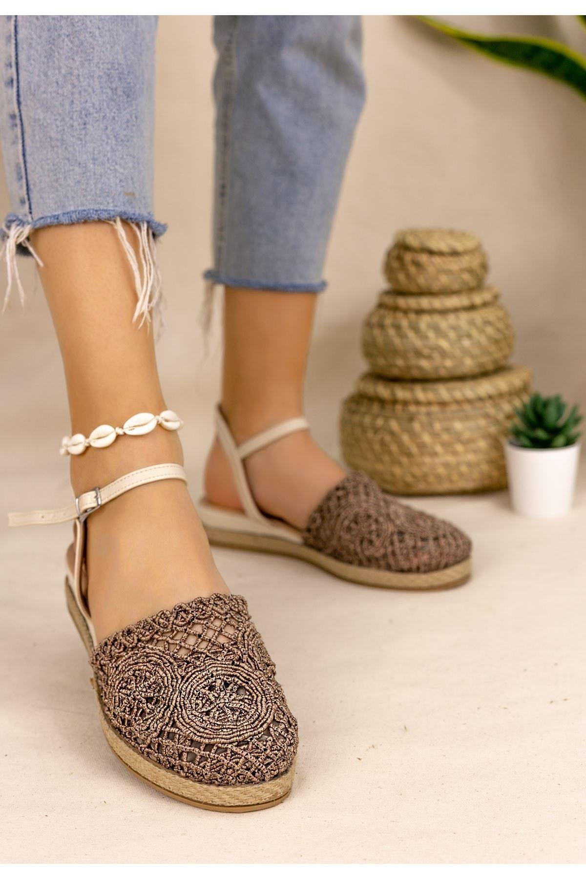 Nyal Bronz Örgülü Sandalet