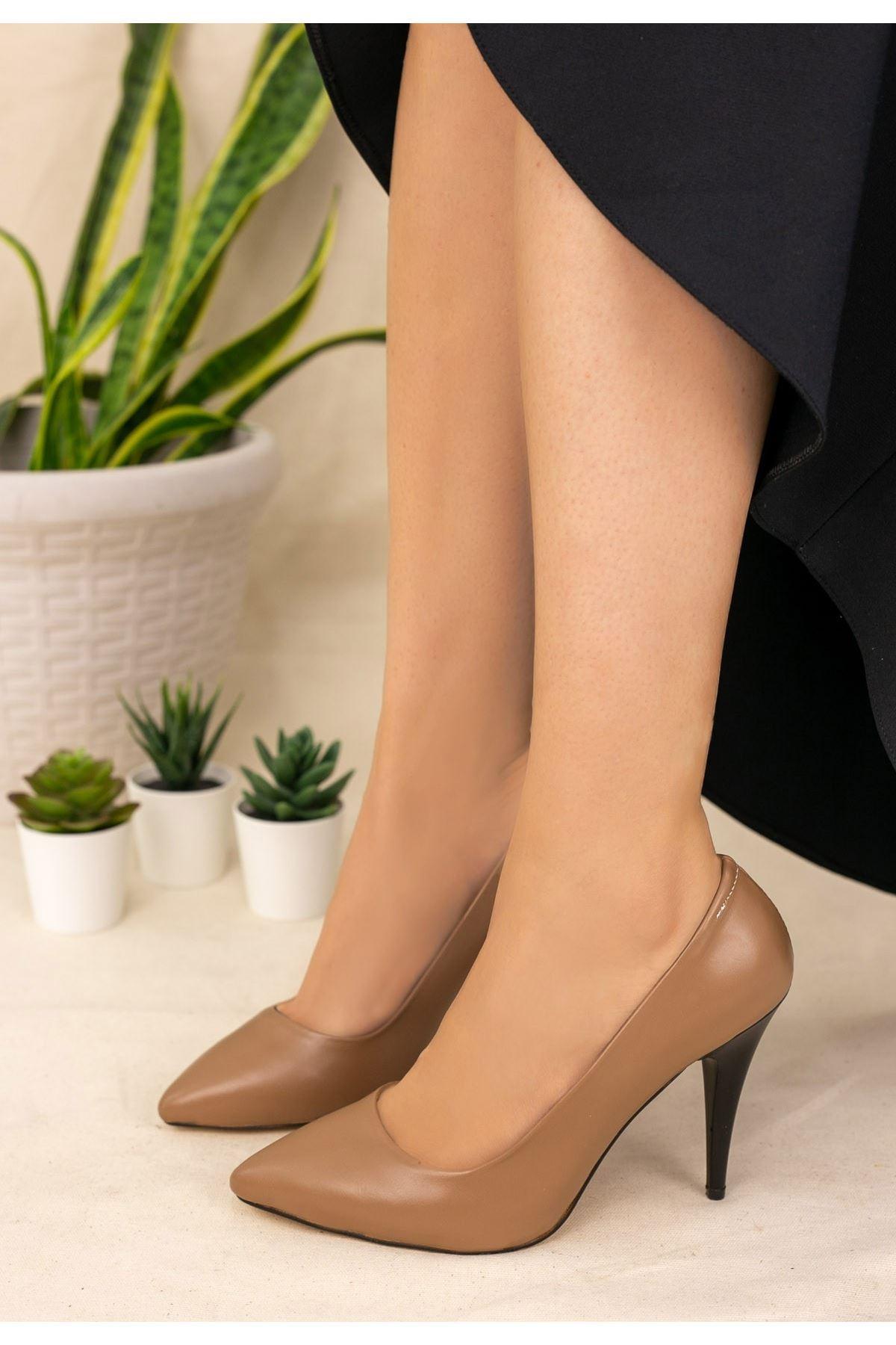 Revaxi Vizon Cilt Stiletto Ayakkabı