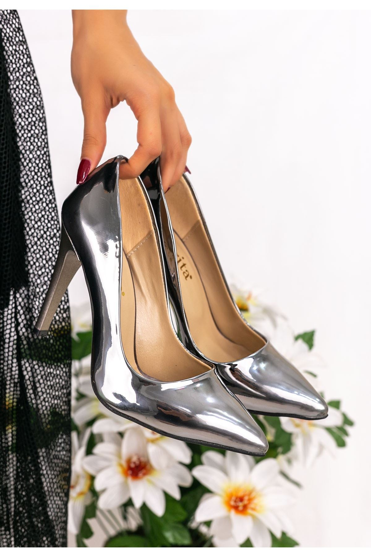 Brox Platin Ayna Stiletto Ayakkabı