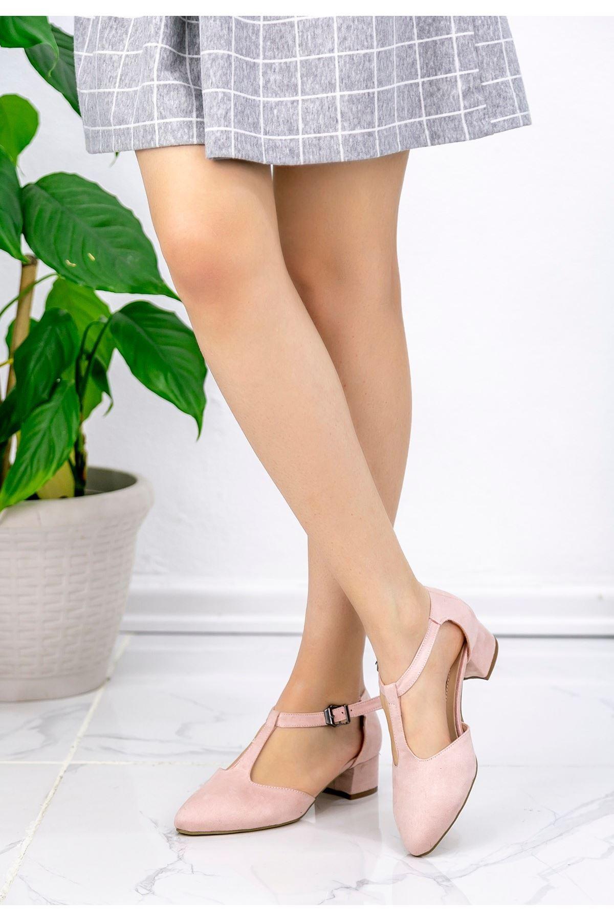 Lynee Pudra Süet Topuklu Ayakkabı