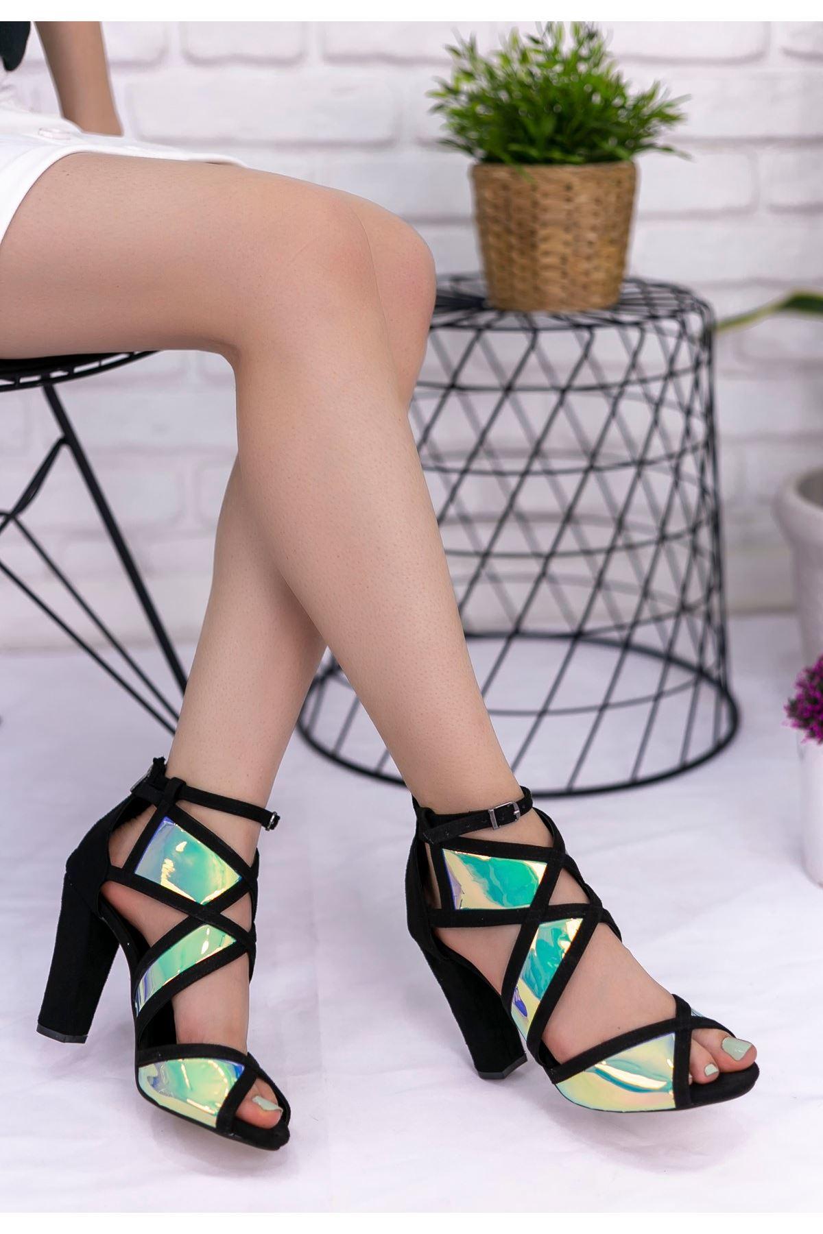 Mauri Siyah Süet Aynalı Topuklu Ayakkabı