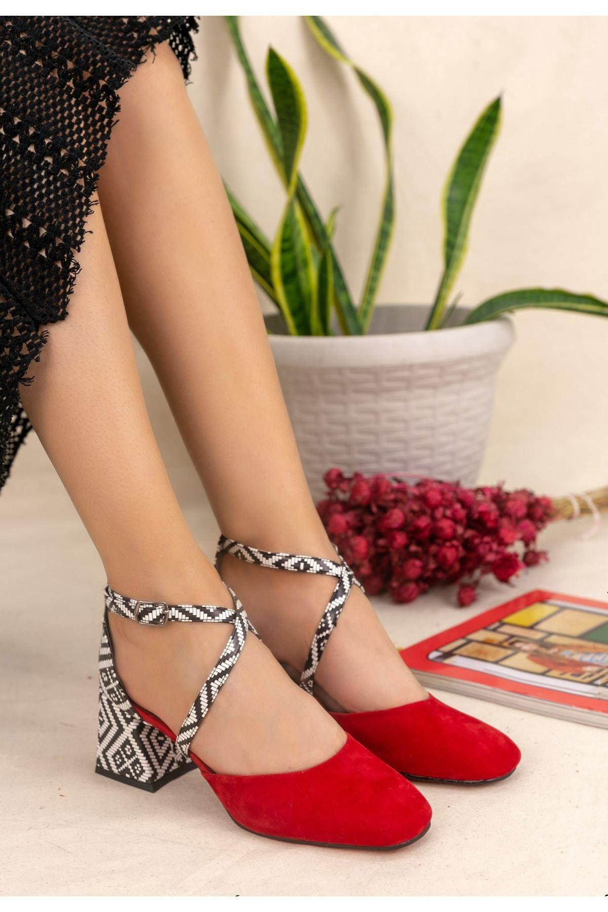Londa Kırmızı Süet Kilim Detaylı Ayakkabı