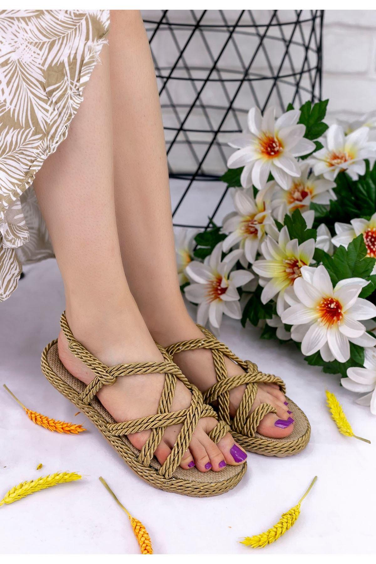 Nyla Gold Halatlı Sandalet