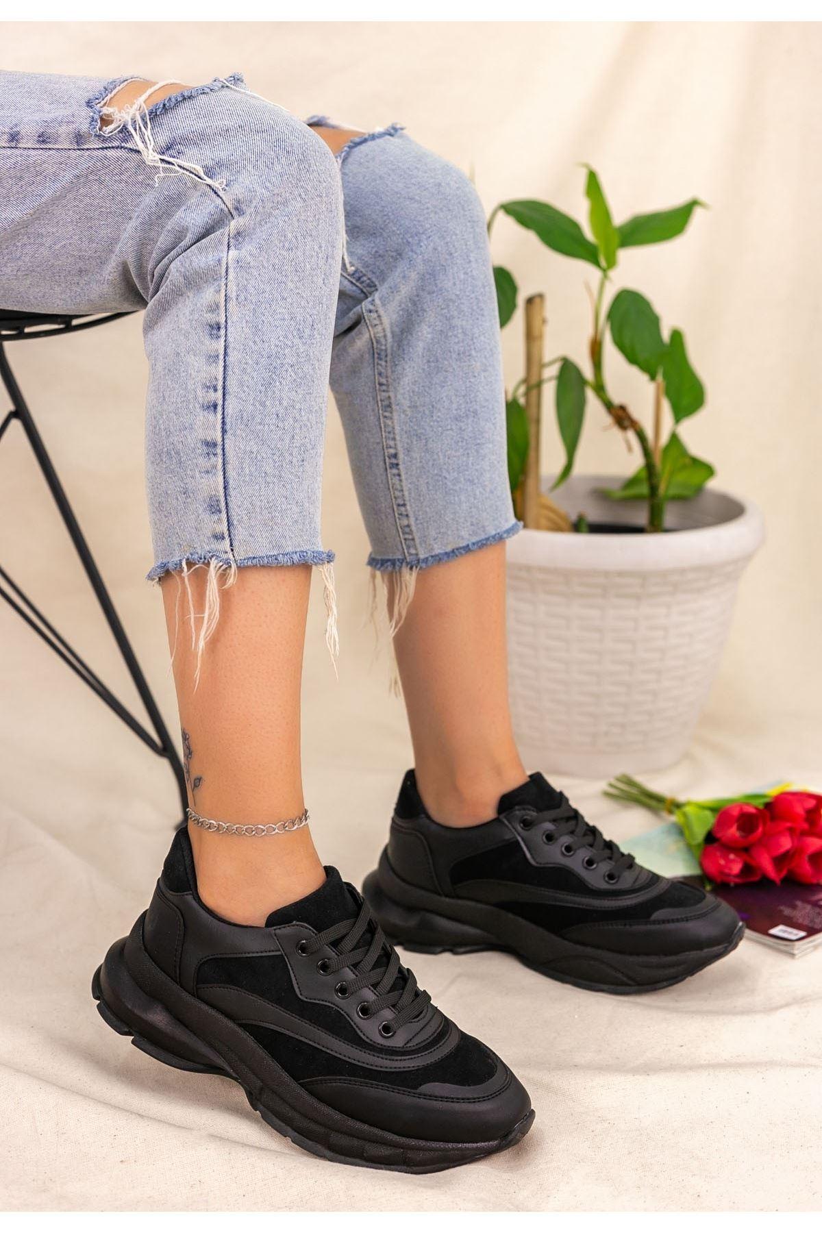 Nataj Siyah Cilt Süet Detaylı Spor Ayakkabı