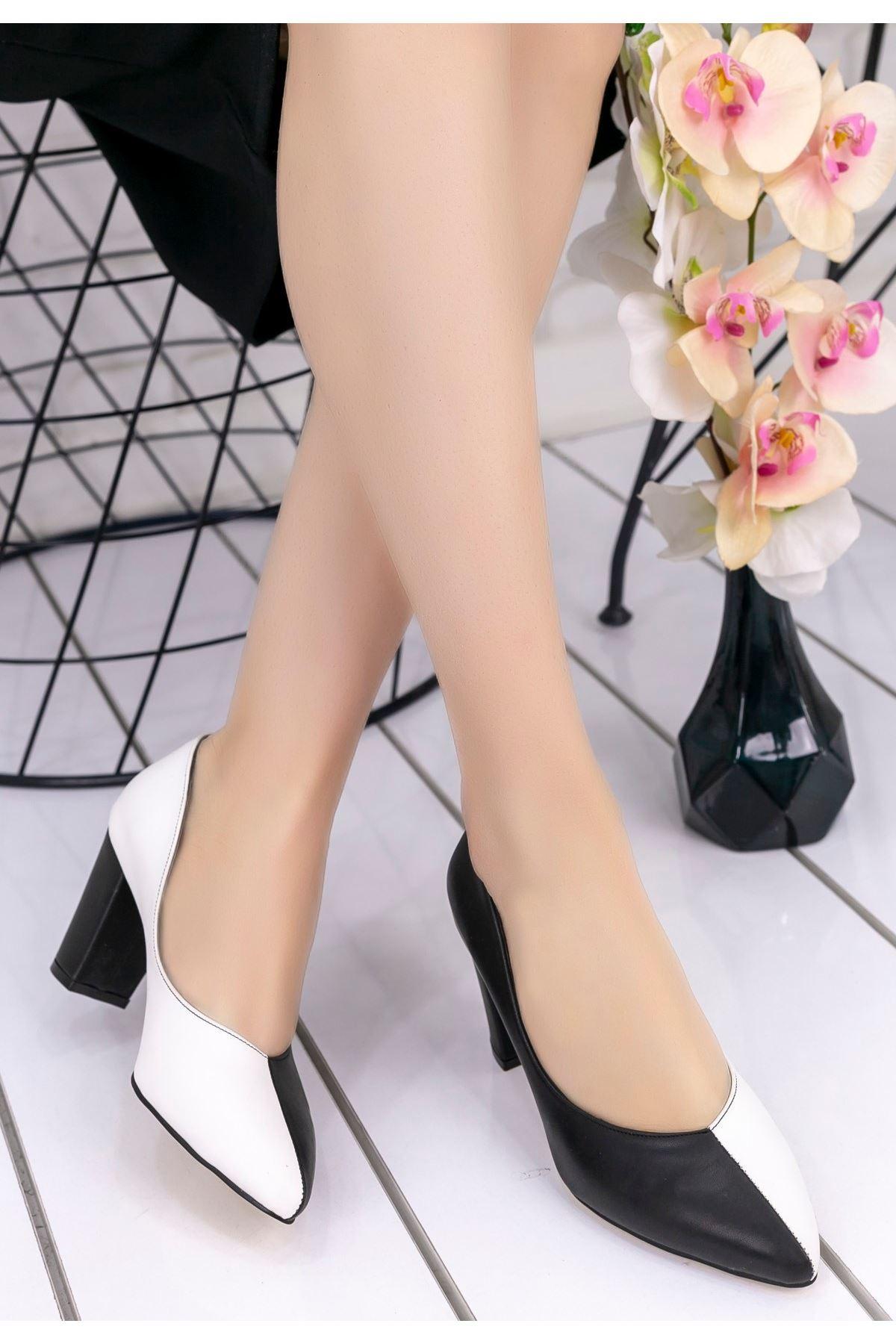Wilona Siyah Beyaz Cilt Siyah Topuklu Ayakkabı