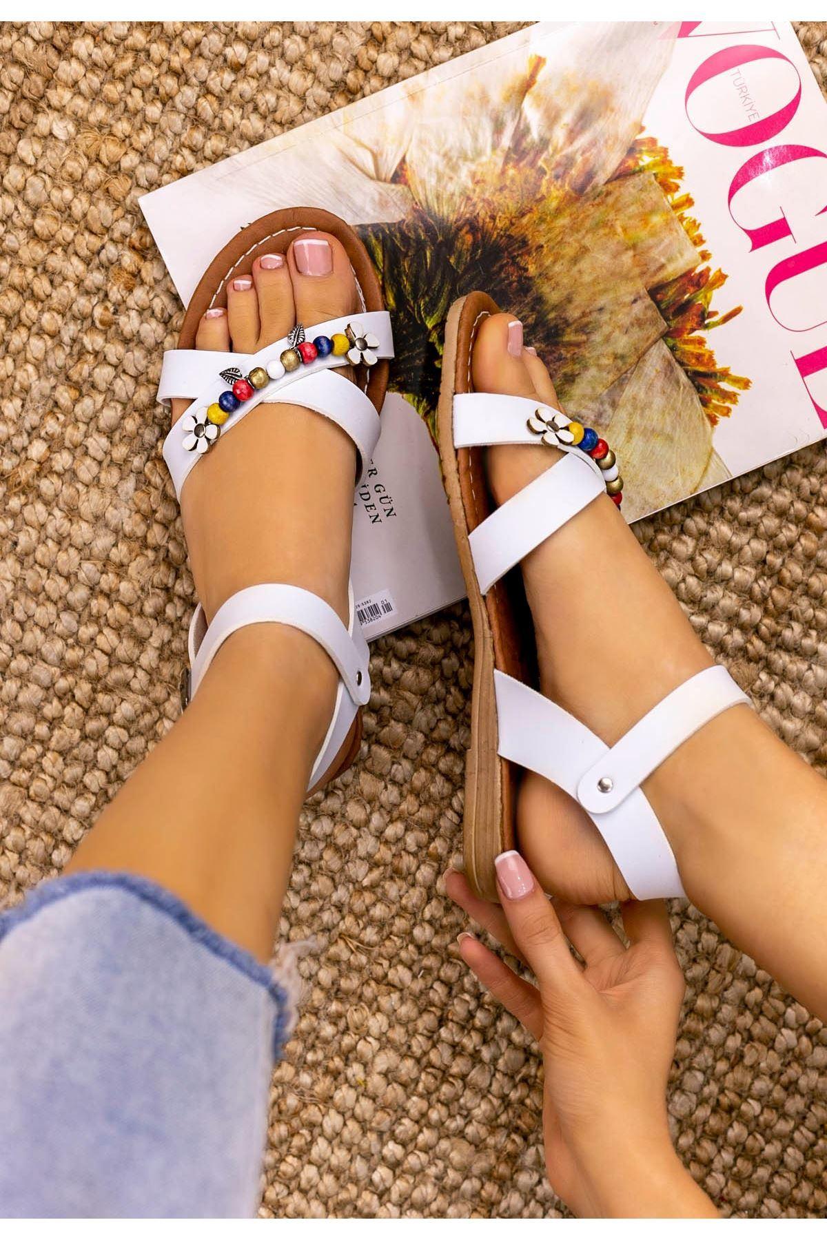 Arlene Beyaz Cilt Sandalet