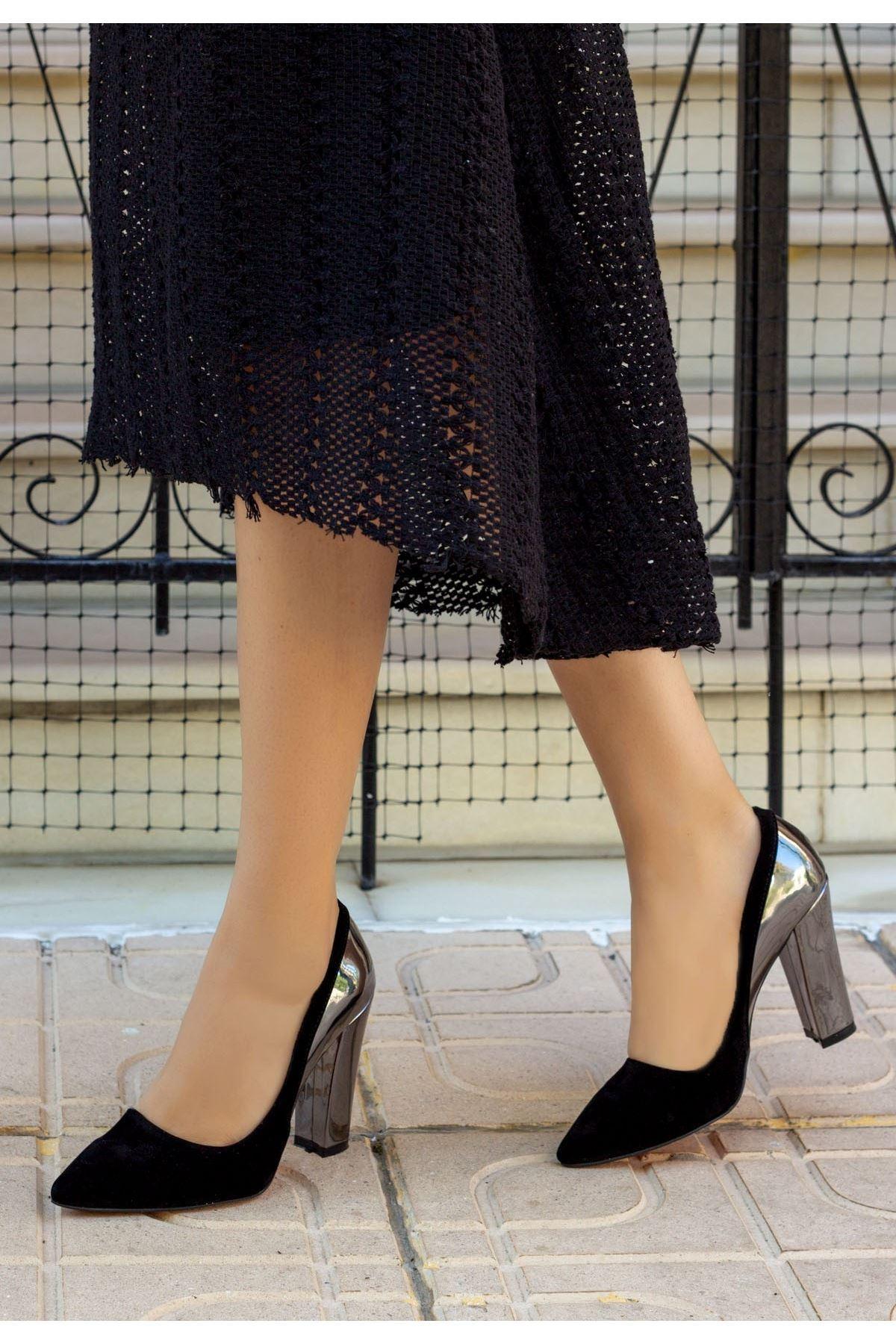 Vart Siyah Süet Ayna Topuklu Ayakkabı