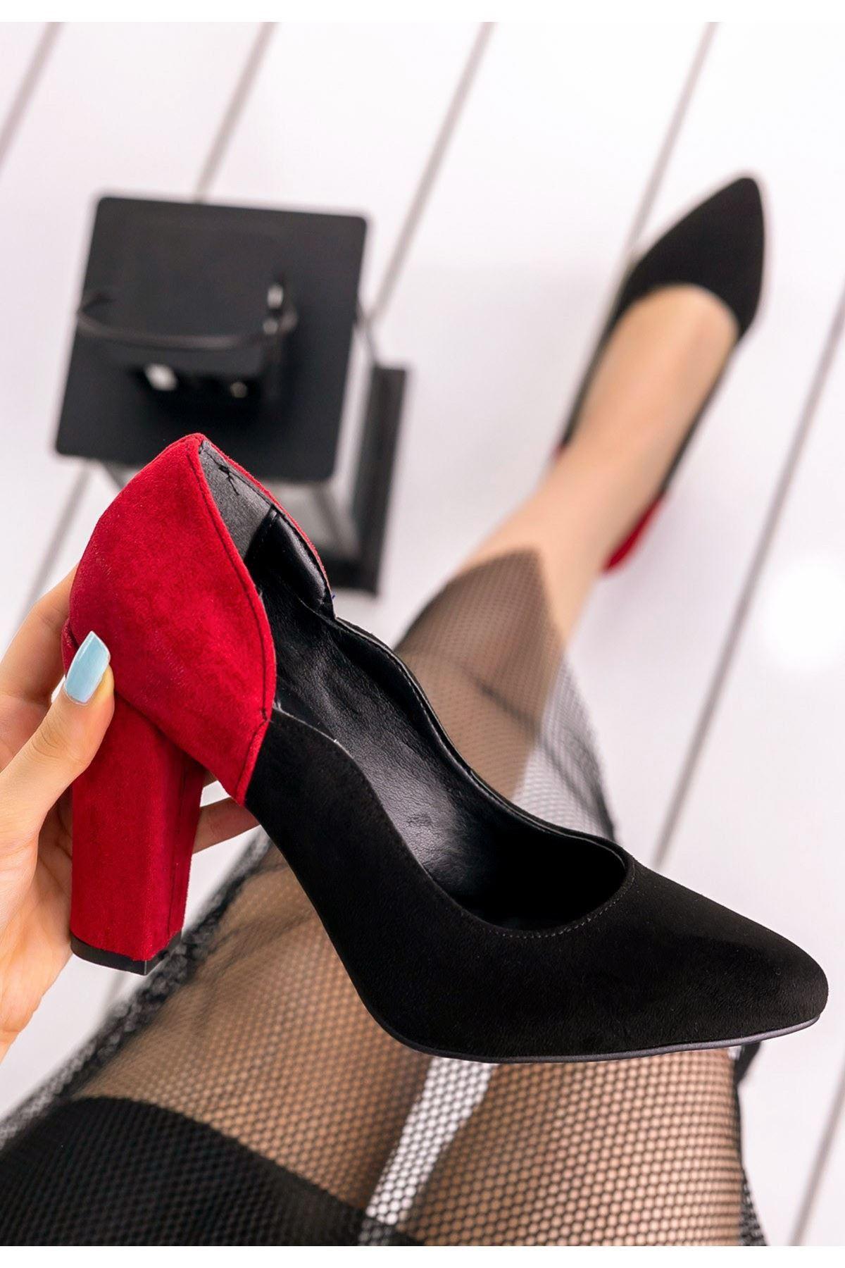 İlene Siyah Süet Kırmızı Topuklu Ayakkabı