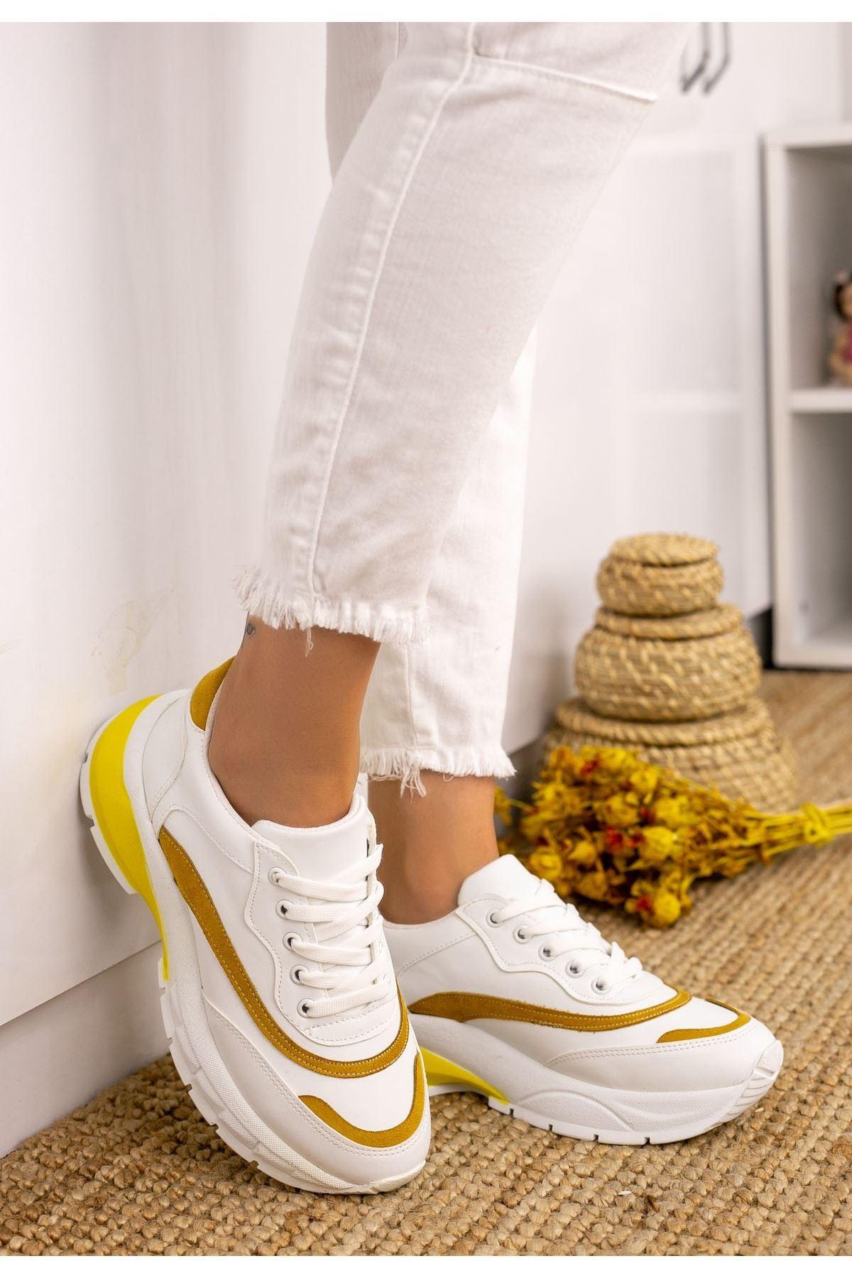 Carix Beyaz Cilt Hardal Detaylı Spor Ayakkabı