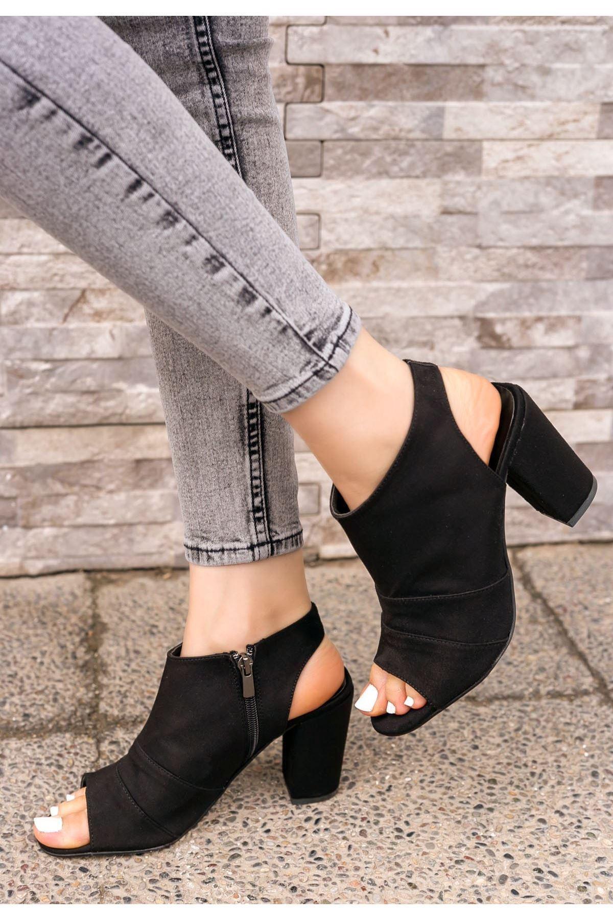 Dolly Siyah Süet Topuklu Ayakkabı