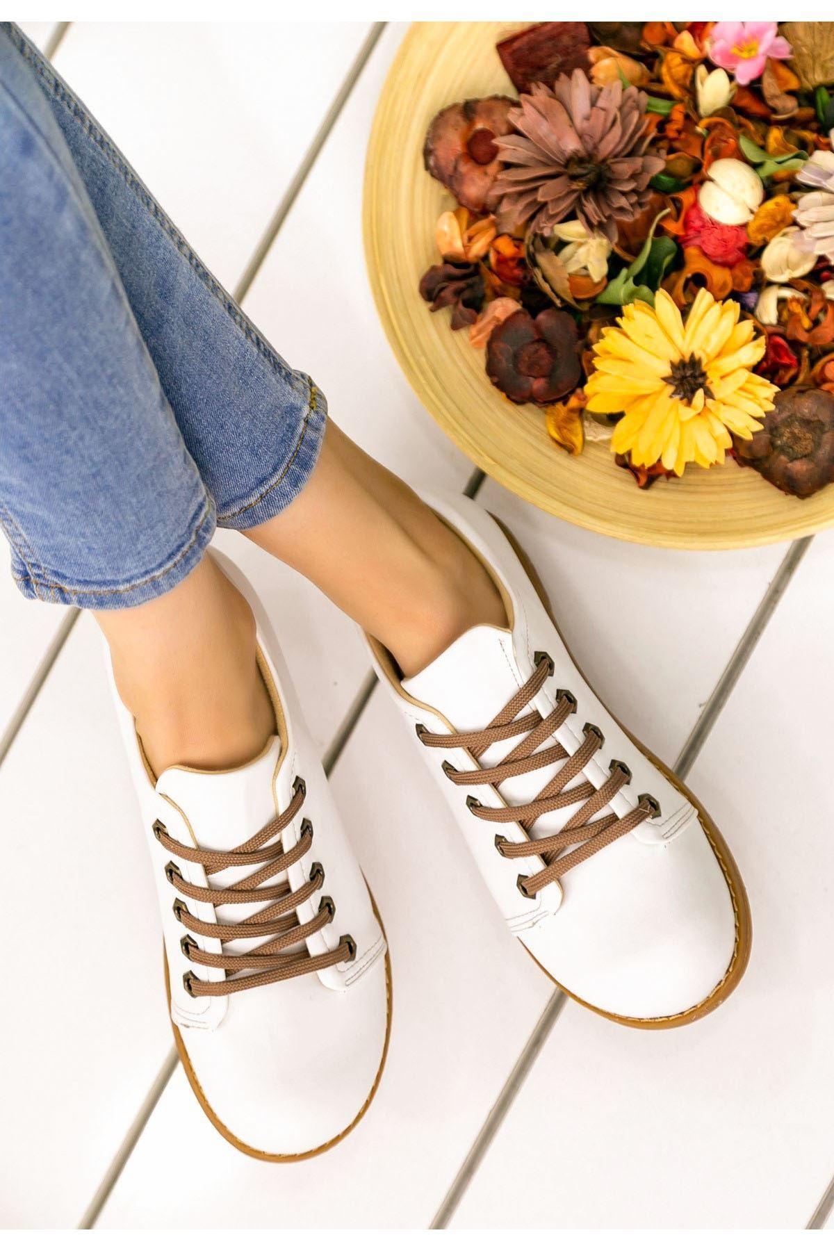 Beliniya Beyaz Cilt Oxford Ayakkabı