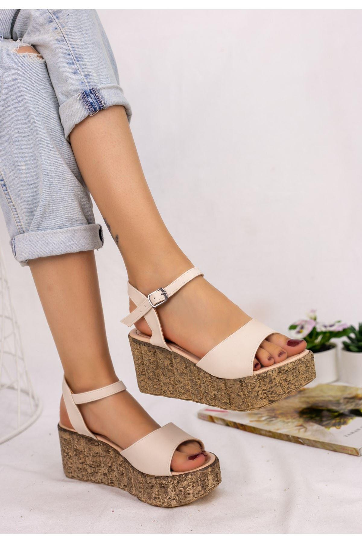 Madix Krem Cilt Dolgu Topuk Sandalet