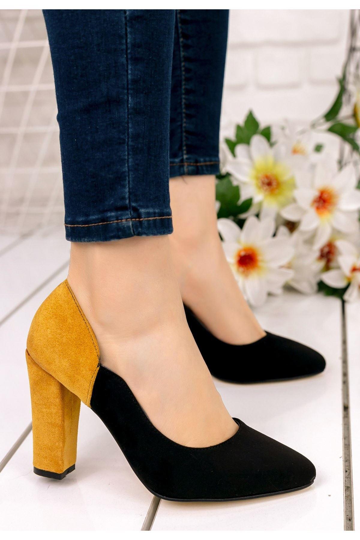 İlene Siyah Süet  Hardal Topuklu Ayakkabı