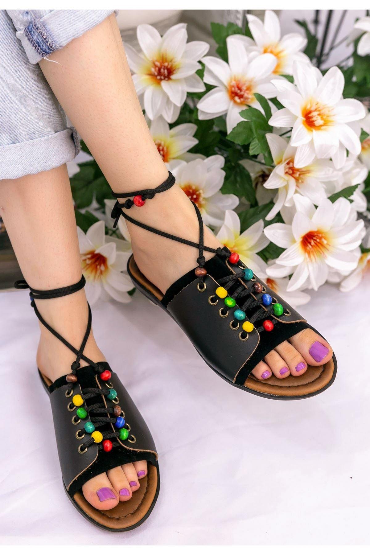 Felix Siyah Cilt Boncuklu Sandalet
