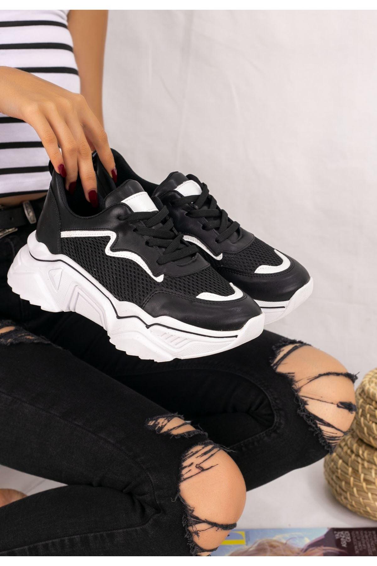 Vira  Siyah Cilt  Beyaz Tabanlı Spor Ayakkabı