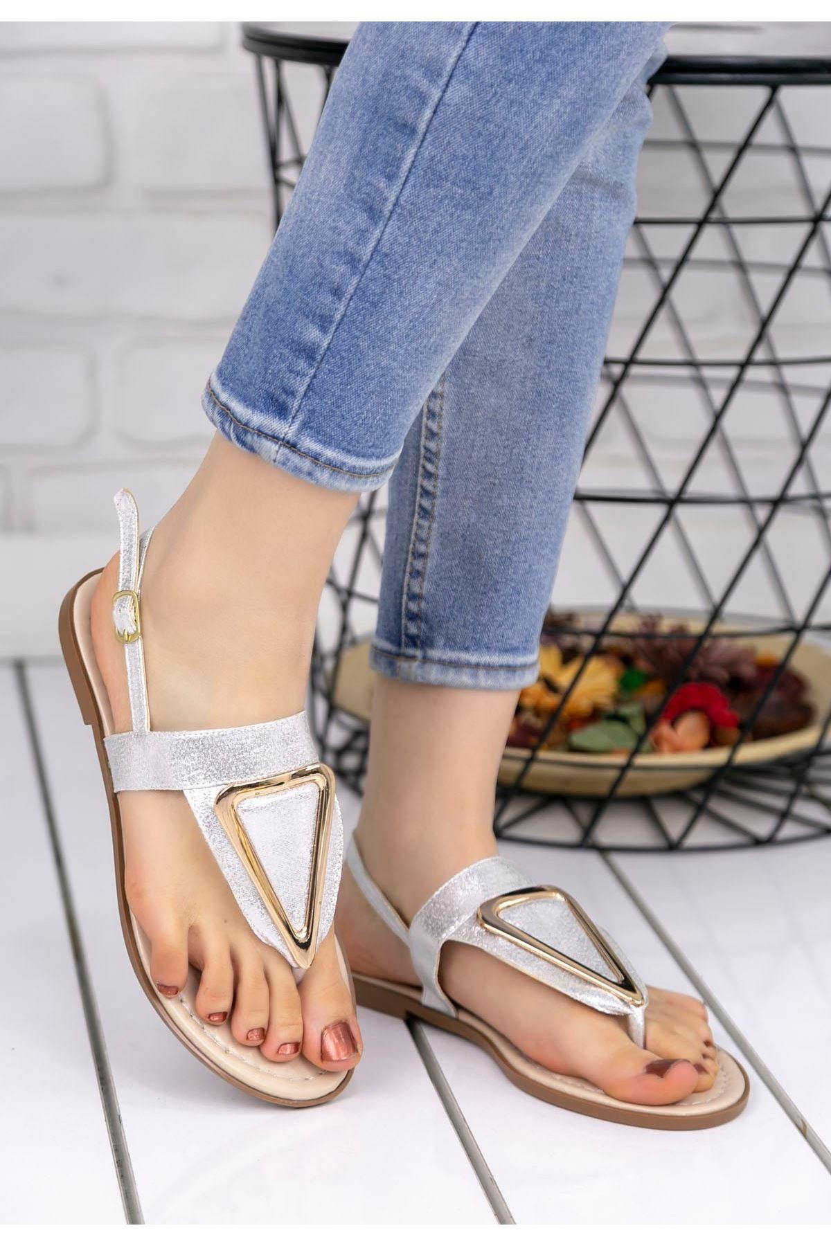 Samy Gümüş Cilt Parmak Arası Sandalet